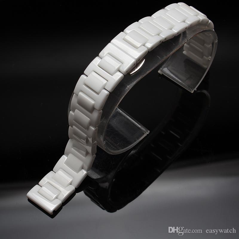 White Watchband pure Ceramic Watch Strap Bracelet NEAVER FADE Watches ACCESSORY fIT men women diamond dress watches 14 16 18 20 22mm fashion