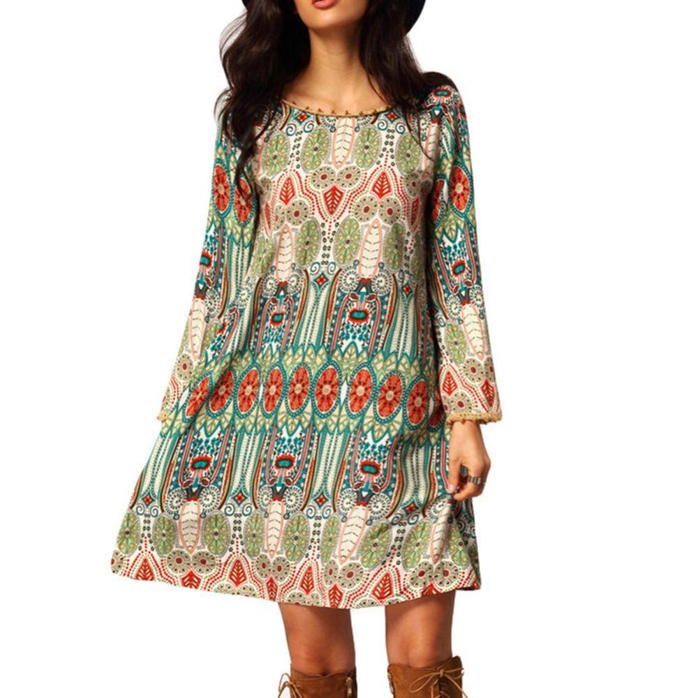 Venta al por mayor- Moda de verano Vendimia Vestido étnico Mujeres sexy Boho estampado floral Casual Beach Dress Loose Sundress