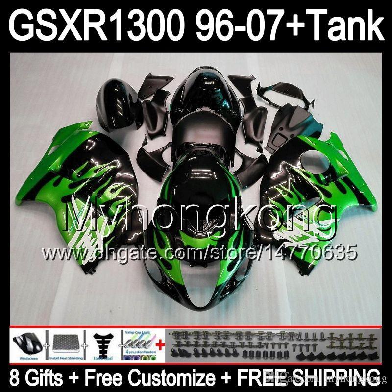 Gröna flammor 8Gift för Suzuki Hayabusa GSXR1300 96 97 98 99 00 01 13HM1 GSXR 1300 GSX-R1300 GSX R1300 02 03 04 05 06 07 Fairing Green Black