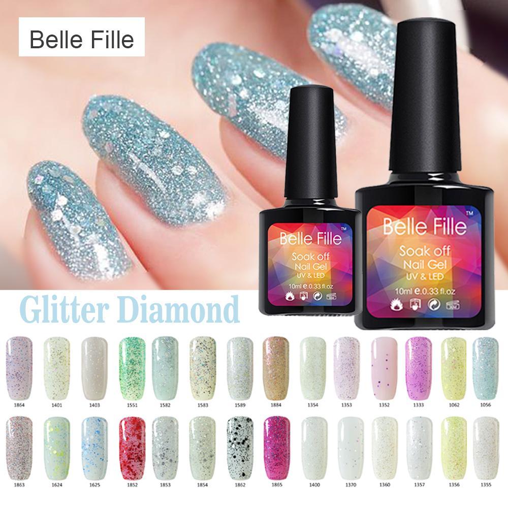 Wholesale- 10ml Glitter Diamond Colors Bling Gel Nail Polish Fashion ...