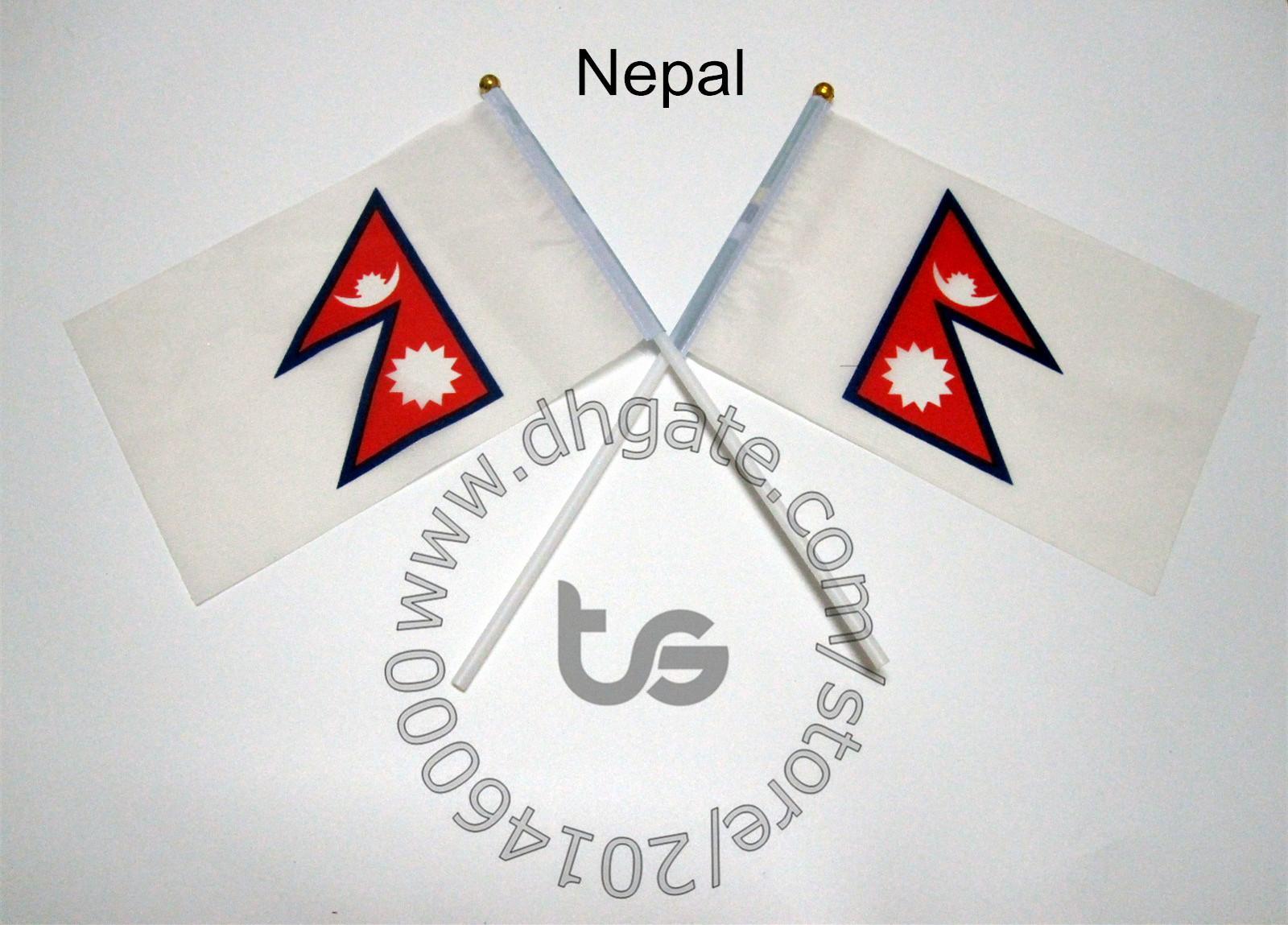 Nepal flag Banner 10 pezzi / lottp 14x21 cm bandiera 100% bandiere in poliestere con pennoni in plastica per la decorazione di celebrazione