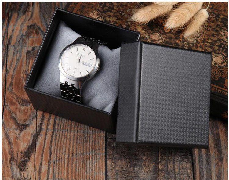 100pcs 8x8x6cm place papier dur unique Bracelet montre bijoux cadeau montres boîte d'emballage d'affichage (noir)