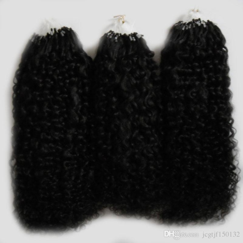 Natürliche Farbe afro verworrene lockige micro loop haarverlängerungen 300g mongolische verworrenes lockiges haar Micro Link Haarverlängerungen Menschlichen 300 s