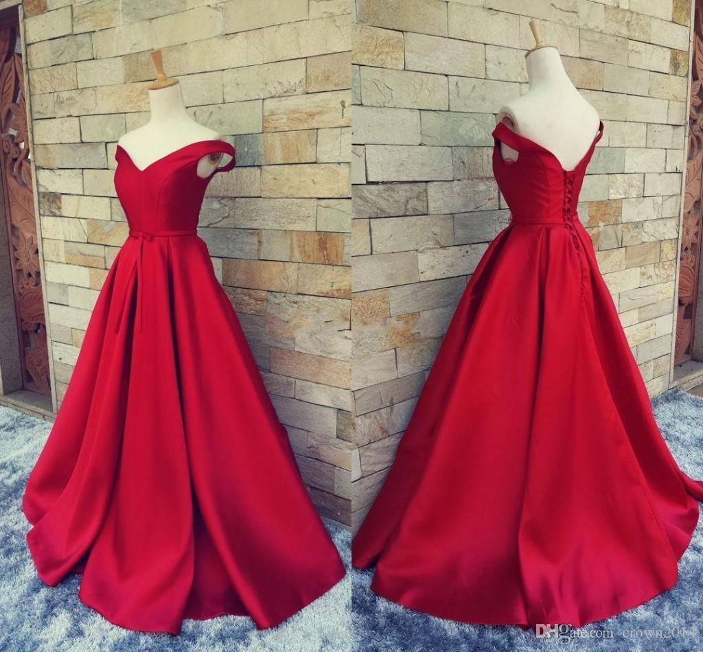 2019 Simple Dark Red Evening Dresses V Neck Off The Shoulder Ruched Satin Custom Made Backless Corset Prom Gowns Formal Dresses Real Image
