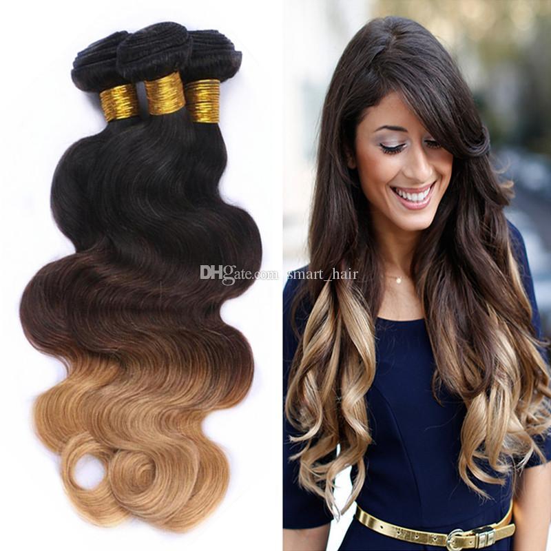 Brésilien 9A # 1B 4 27 Miel Blonde Ombre Cheveux 3 Bundles Dark Roots Trois Tons Corps Vague Ombre Cheveux Tisse 10-30 Pouces