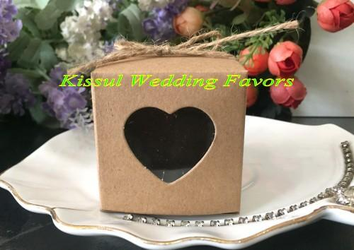 Wedding and Party Gift box of Kraft Paper Love heart Favor box with PVC window For Wedding favors candy box 50Pcs/lot Free Shipping