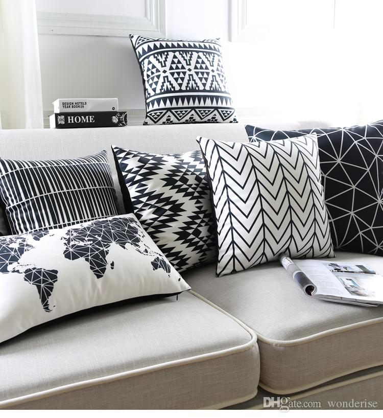Black And White Cushion Covers Geometric Triangles Stripe World Map Pillow  Cover Decorative Velvet Pillow Case For Sofa Seat Outdoor Patio Furniture  ...