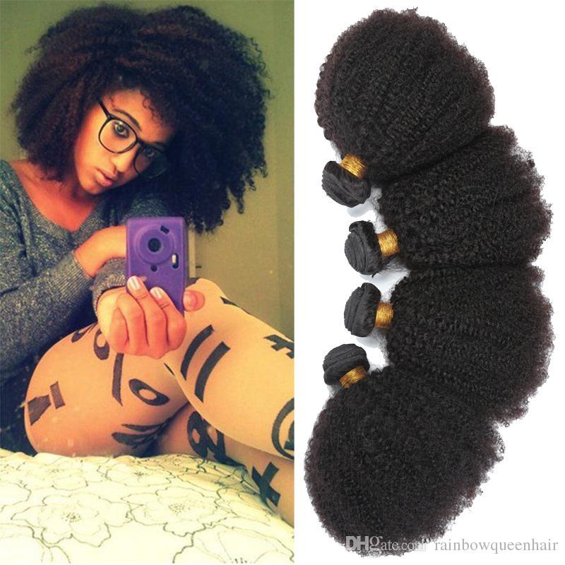 "7a Brazilian Remy Afro Kinky Virgin Hair 3pcs Brazilian Short Natural Black Kinky Curly Afro Curl Human Hair Weave 8""-20"""