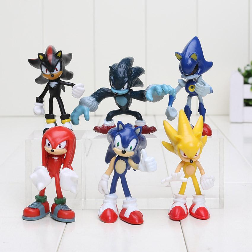 6pcs/set 5-8cm Sonic The Hedgehog Sonic Shadow Tails Knuckles PVC Action Figure Collectible Model Toys