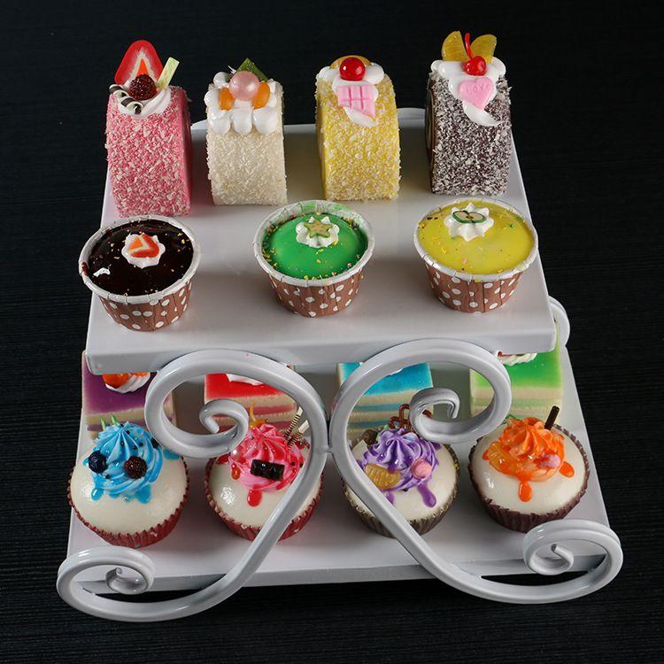 2 nivåer vit cupcake järn tårta stativ födelsedagsfest hotell dekoration bröllop torn dressert bricka