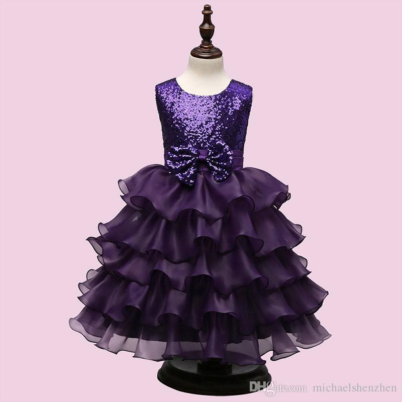 Online Cheap Girls Party Wear Cake Dress Kids New Sequins Children ...