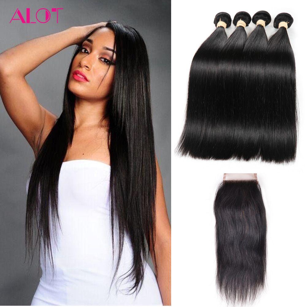 8A Grade Peruvian Hair Bundles Straight Hair Weaves 4 Bundles with Closures Natura Color 100% Unprocessed Peruvian Cheap Human Hair Bundle