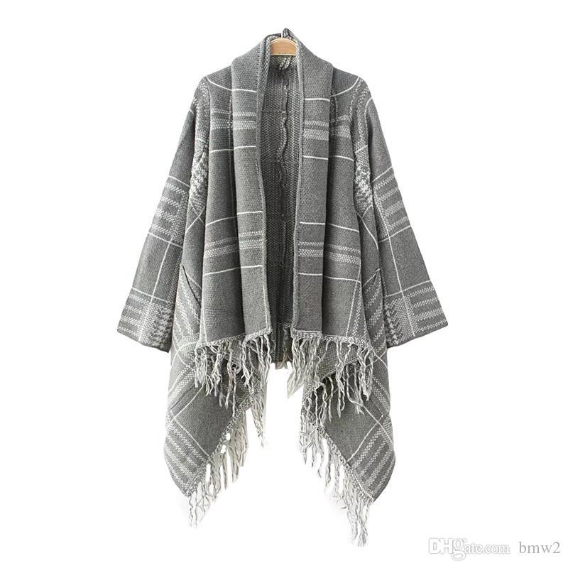 Poncho Feminino Inverno New Autumn Casual Knitted Sweater Women Long Sleeve Loose Irregular Tassel Cardigan
