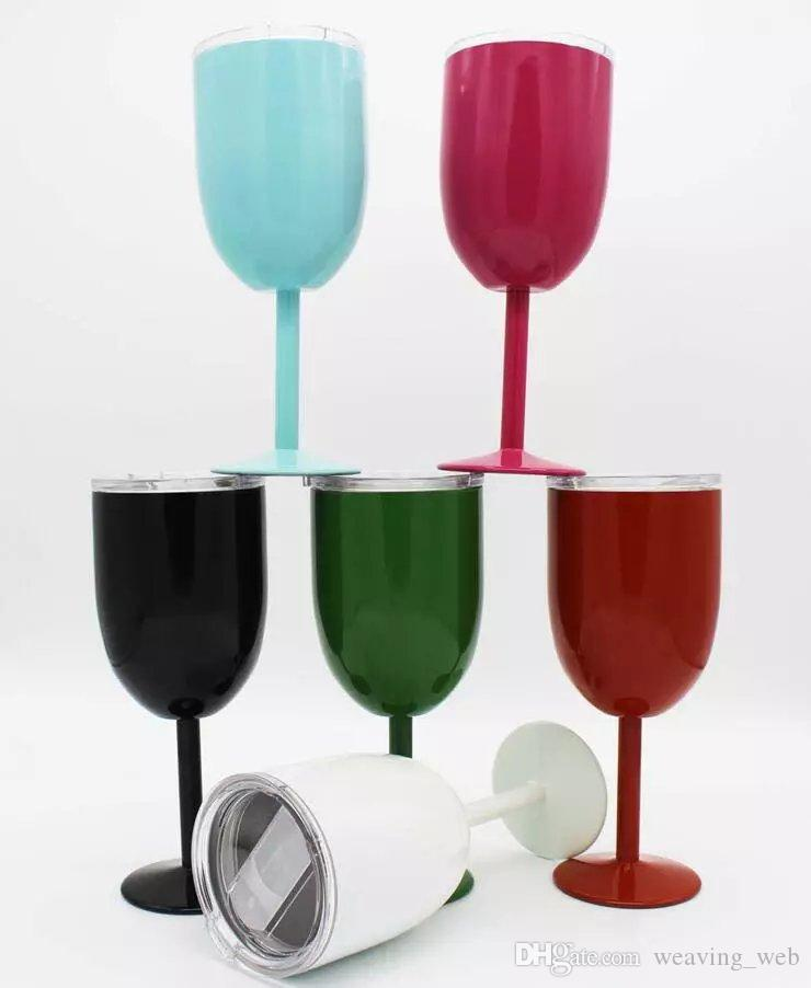 10oz Wine Glass Stainless Steel CUP wine Goblet Double Wall Insulated Metal With Lid Red Wine Glasses vs Cola Shaped Bottle