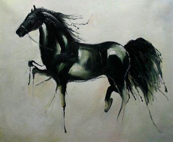 Enmarcado Caballo negro abstracto, pintura al óleo hecha a mano del arte animal hecho a mano puro genuino en la calidad del museo de la lona gruesa, tamaños múltiples, envío libre zhon