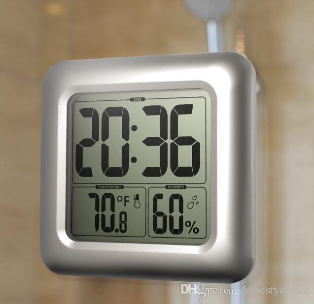 Dhl / fedex 30 шт. Водонепроницаемый ЖК-Цифровой Ванная Комната Настенное Зеркало Часы Кухня Датчик Температуры И Влажности с Всасыванием