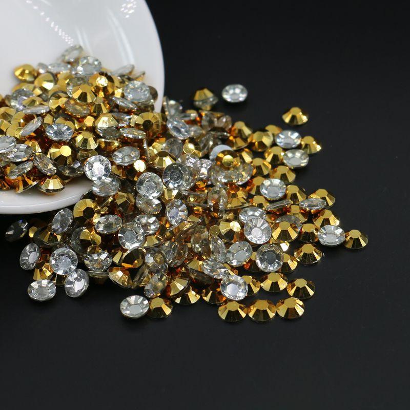 Rhinestone, Round Flatback Gold, All Size 3mm,4mm,5mm,6mm Resin Rhinestone Craft Supplies Glue Bling Sparkle Nail Art