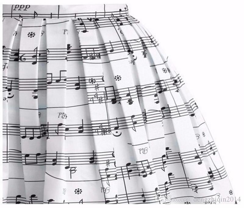 280da50a9a ... Fashion Women Musical Scores Printed Skirt Lady Vintage Classy Piano  Musical Note Casual Midi Skirt Dress ...