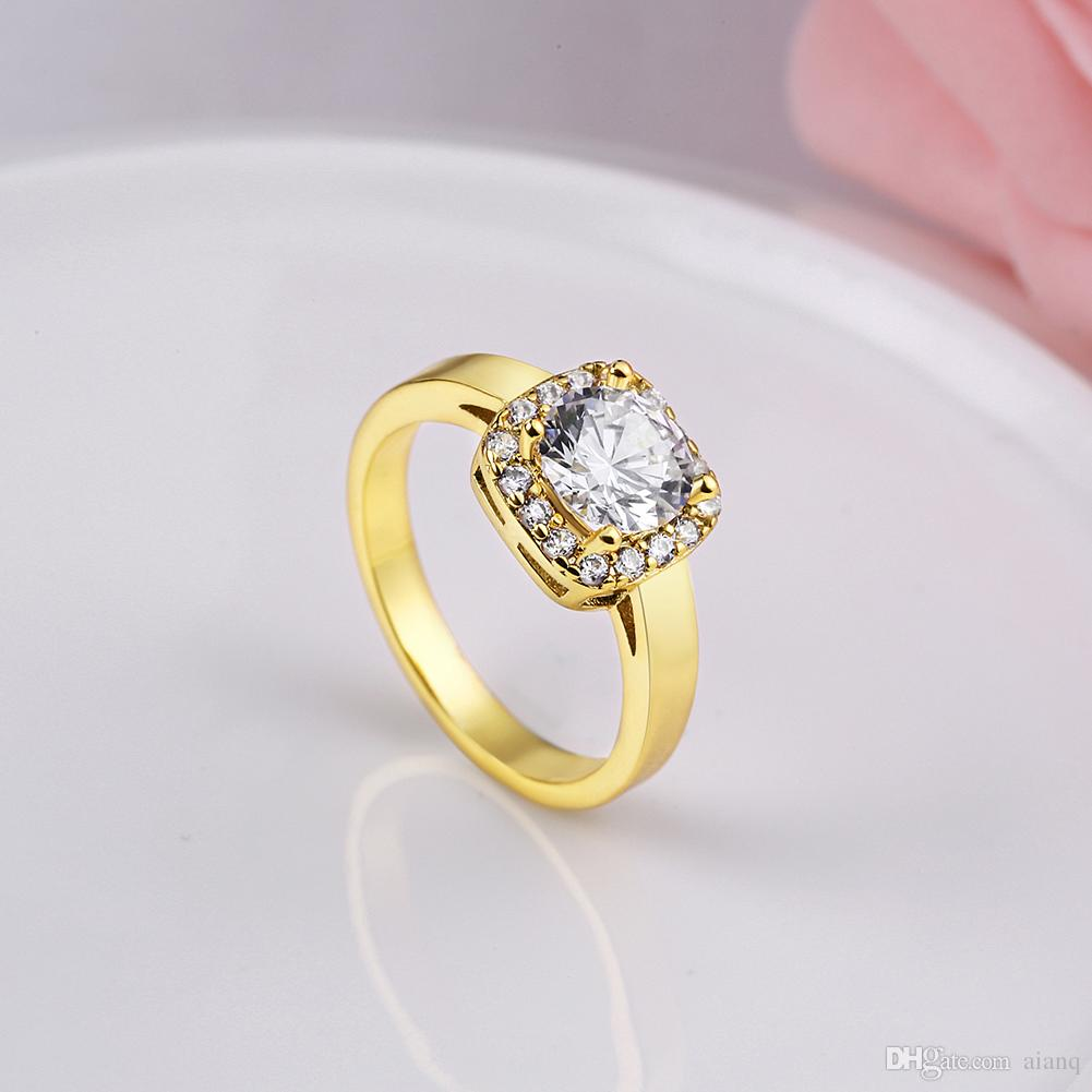 High Qulity Ring Gold/Silver Plated Crystal Zircon Gemstone Ring Simulated Diamond Engagement Rings Fashion Charm Love Ring Jewelry