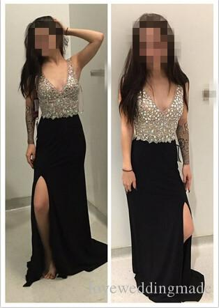 Noche Long Dresses For Evening Sexy V Neck Black Mermaid Prom Dresses Beading Floor Length Side Slit Chiffon Formal Party Gowns 2017
