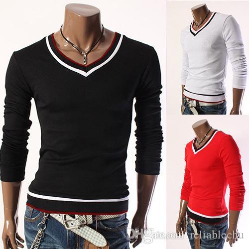 V Neck T Shirt Men Long Sleeve V Neck striped designer fashion casual slim fit for man t shirts free shipping