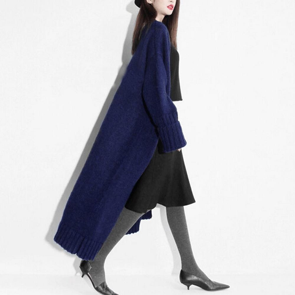 Atacado-100% Real Cashmere Blend Long Cardigans Moda Feminino Handmade Cashmere Super Long Coat TFP716