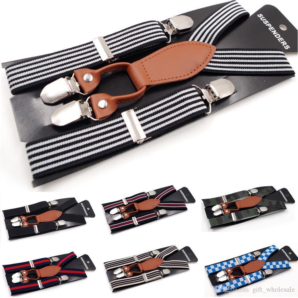 2017 Nuevos Niños Niños Niñas Stripe Suspender Clip Niños Mix Style Leather Elástico Pantalones Carpeta Unisex Rainbow Strape Moda parche