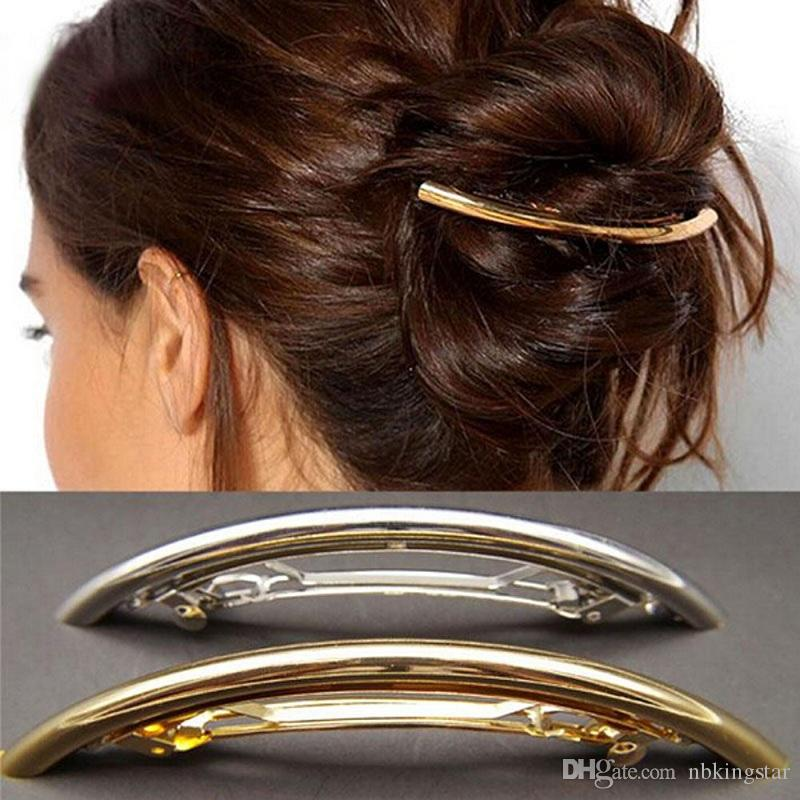 2017 Yeni Moda Kadınlar Metal Saç Klipler Tokalarım Kızlar Kaplama Düz ARK Tüp Hairgrip Hairband Tokalar Saç Aksesuarları