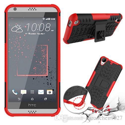 Cas Pour HTC Desire 530 Couverture Double Couche Armure Silicium PC Cas Pour HTC Desire 530 Desire 630 Fundas Téléphone Kickstand Coque