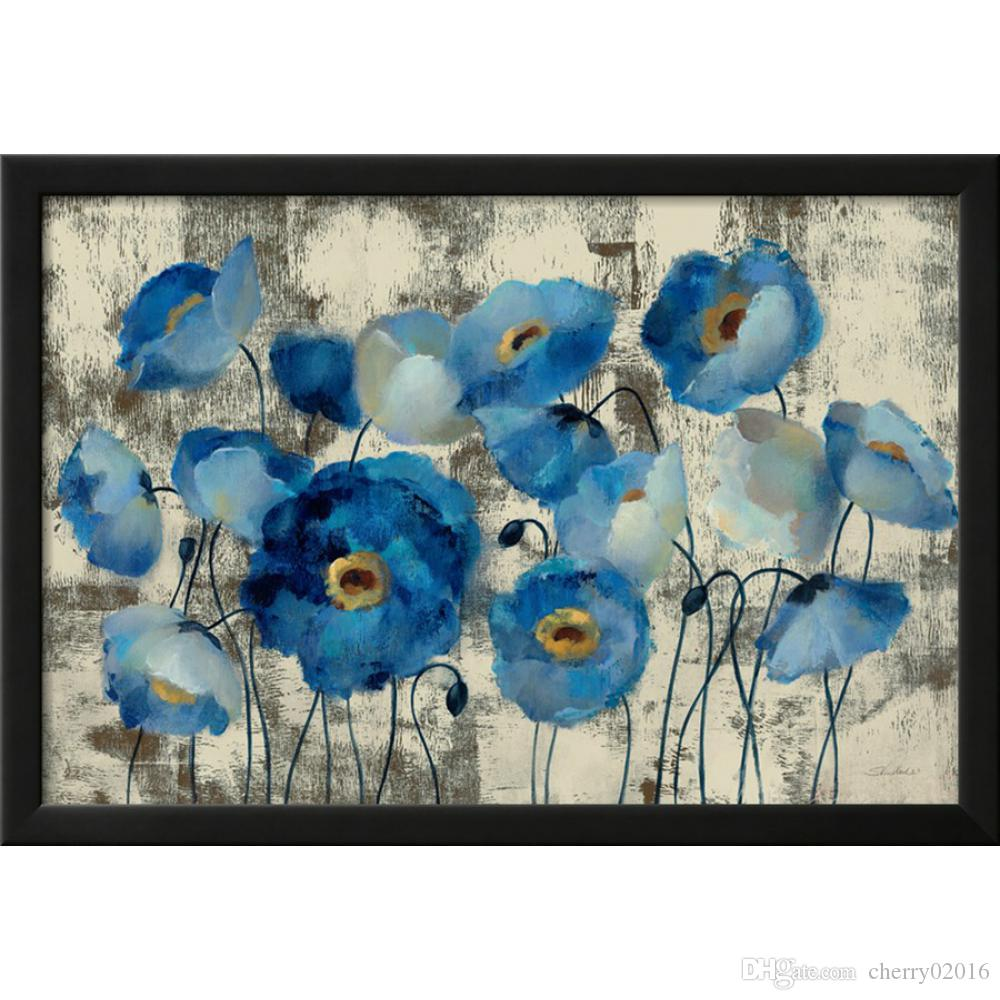 Pintado a mano pintura al óleo abstracta flor aguamarina floral Silvia Vassileva óleo sobre lienzo decoración para el hogar