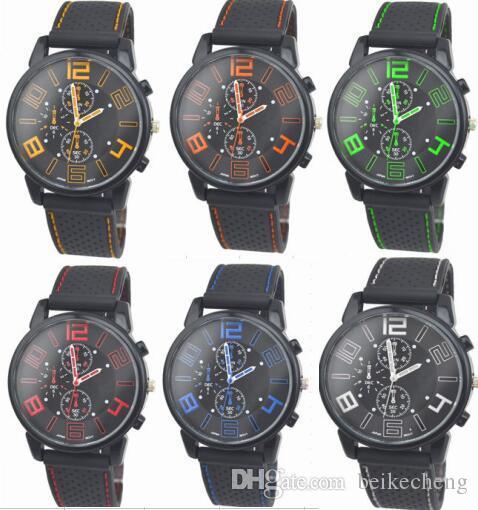 100 teile / los Mix 6 Farben Männer Kausal SPORT Military Pilot Aviator Armee Silikon GT Uhren RW018