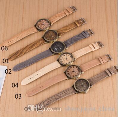6 farben luxusuhren die neuesten armbanduhren mode quarzuhr holz uhren für unisex quarz armbanduhren cca7305 50 stücke