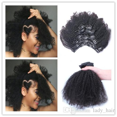 """Clip In Human Hair Extensions Afro Kinky Curly Indian Hair Clip Ins 10""""-26"""" Kinky Curly Human Hair Clip In Extensions 120g/Set"""