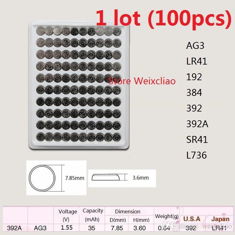 100 قطع 1 وحدة ag3 LR41 192 384 392 392a SR41 L736 1.55 فولت بطاريات زر خلية البطارية القلوية عملة صينية حزمة شحن مجاني