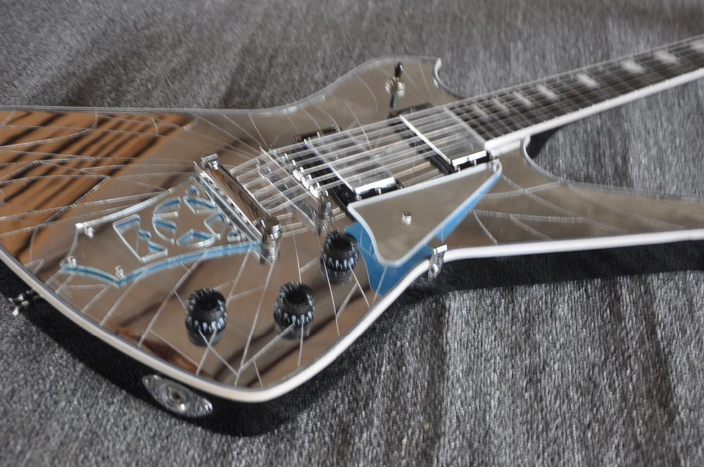 Rare Cracked Mirror Wash Iceman Paul Stanley Signature Electric Guitar Star Shape Mirror Tailpiece & Pickguard Abalone & MOP Block Inlay