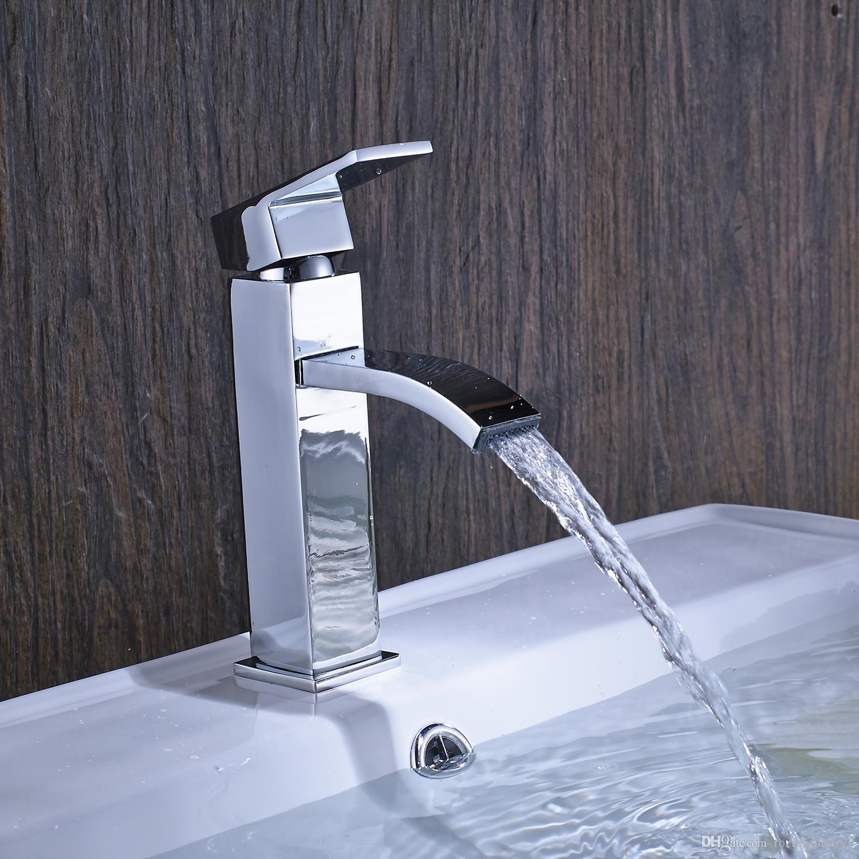 Chrome Brass Bathroom Basin Sink Faucet Single Hole Waterfall Spout Mixer Tap