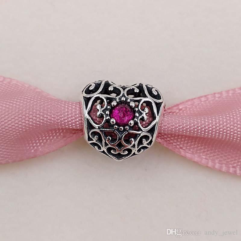 Autêntica 925 Signature Sterling Silver Beads julho Coração Birthstone Charme encantos único estilo europeu jóia de Pandora pulseiras Colar 79
