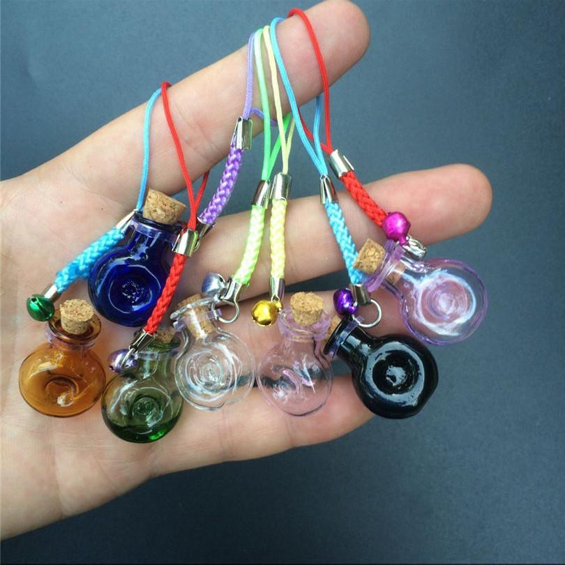 Mini Wine Bottles Form Glass Pendant with Nylon Rope Short Chains Mini Bell Bracelets Jars Glass Pendants Mixed Color1