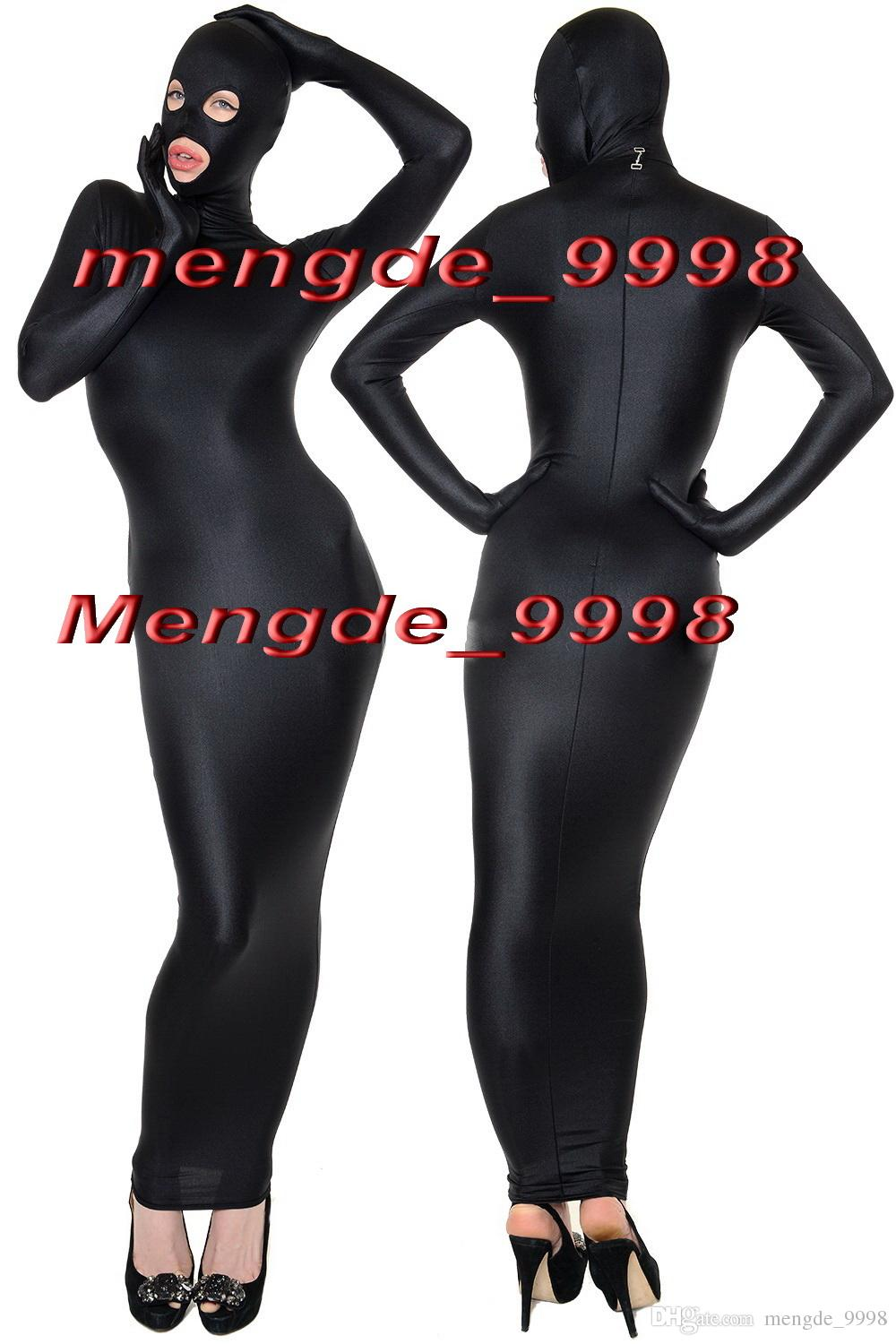 Halloween costume adult Black Lycra Spandex Zentai open eyes full body suit