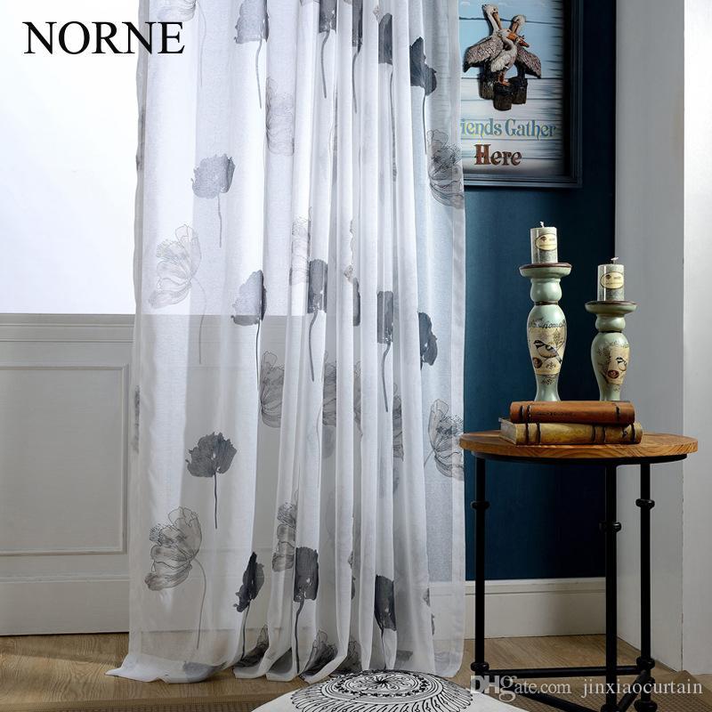 NORNE Modern Tulle Window Tende per soggiorno The Bedroom The Kitchen Cortina (Rideaux) Foglie di loto Stampa Tende a scomparsa Tende Tende