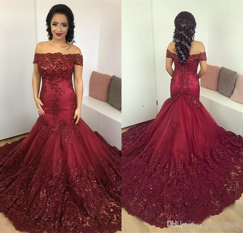 Dark Green Burgundy New Mermaid Prom Dresses Off Shoulder Prom Gowns Lace Applique Court Train Formal Party Formal Evening Gowns