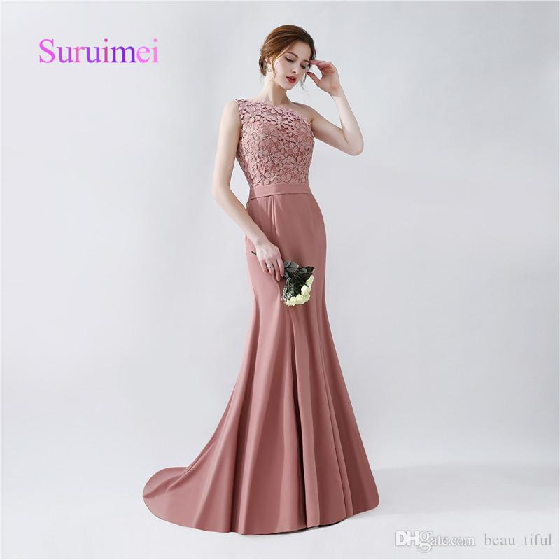 Free Shipping One Shoulder Mermaid Prom Dresses 2020 With Appliques Satin Sweep Train Formal Evening Gowns