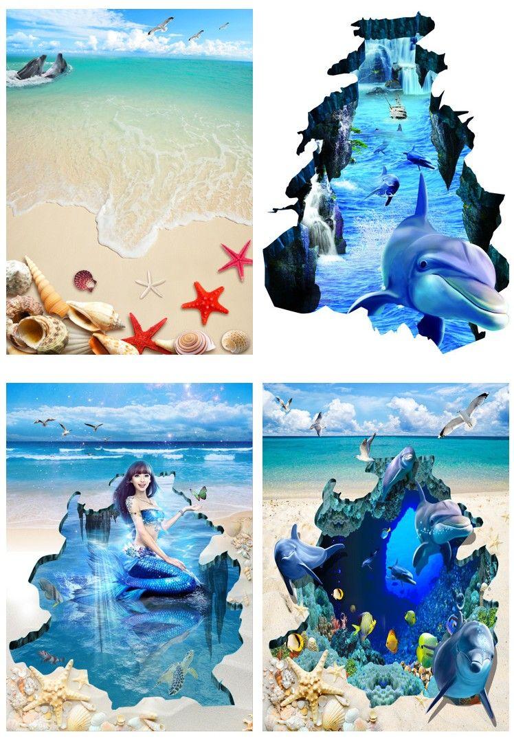 30jy baleine sirène 3d papier peint auto-adhésif imperméable à l'eau peinture de sol mur mer sable plage étoiles de mer fonds d'écran pour salon chambre à coucher