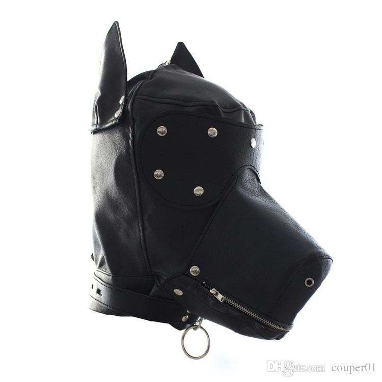 Fetish Leather SM Hood Dog Mask Head Harness Sex Slave Collar Leash Mouth Gag BDSM Bondage Blindfold Sex Toys For Couple Au Reve