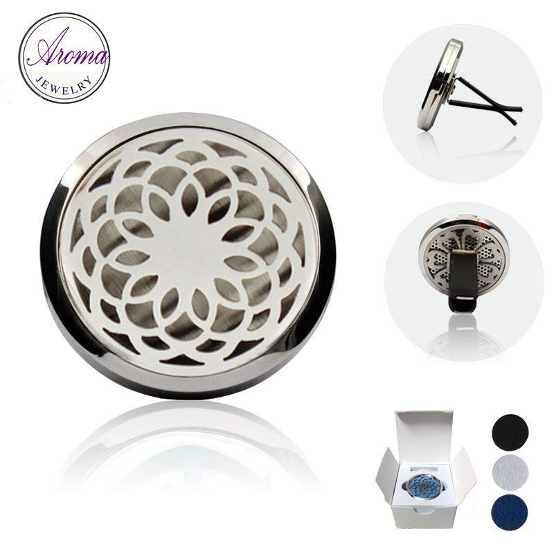 316L acciaio Medaglione Auto Mini Clip sfiato olio essenziale Deodorante DIFFUSORE 38MM