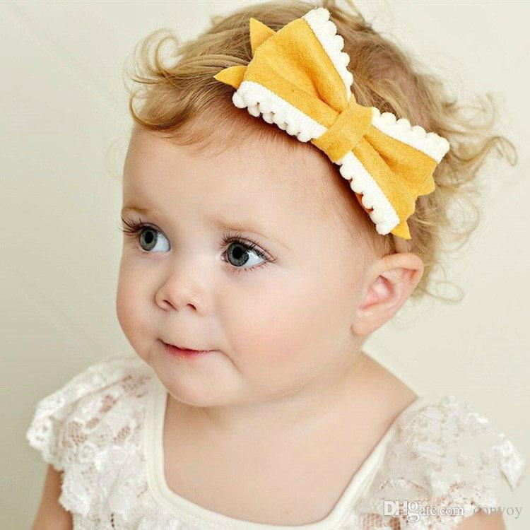 Baby Headbands Hairbands Girls Elastic Nylon Bow Headband Bowknot Hair Accessories Kids hairpin Bows Clips Hairpins for toddler KHA434
