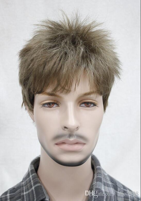 Man Men Wig Light Golden Brown Male Menfolk Daily Wear Hair Full Wig
