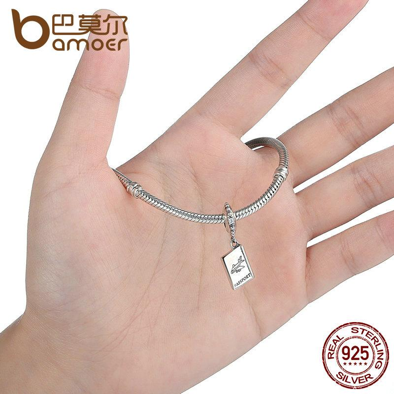 100/% Genuine 925 Sterling Silver PASSPORT Airplane Charm Fit Bracelet Travel Beads /& Jewelry Making