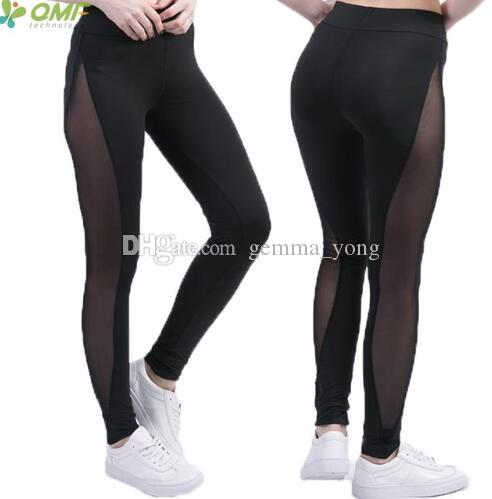 2020 Mesh Splice Workout Yoga Pants Color Block Mesh Insert Leggings Women Sports Running Tights Patchwork Fitness Gym Trousers Cheap