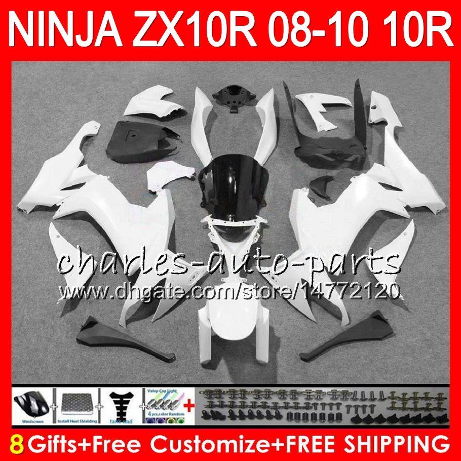 8Gifts 23Colors Body Pour KAWASAKI ZX 10 R ZX10R 08 09 10 blanc brillant 47HM13 ZX 10R ZX1000 C ZX1000C ZX10R 2008 2009 2010 kit Carénage
